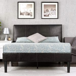 Zinus Gerard Faux Leather Upholstered Platform Bed Frame / Mattress Foundation, Queen RETAIL:$270 for Sale in Euclid, OH