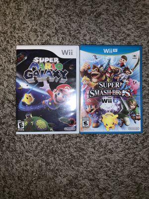 SUPER MARIO GALAXY & SUPER SMASH BROS NINTENDO WII U VIDEO GAMES for Sale in Las Vegas, NV