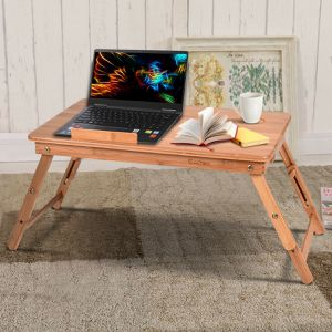 Portable Bamboo Laptop Desk Table Folding Breakfast Bed Serving Tray w/ Drawer for Sale in Littlerock, CA
