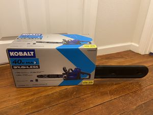 Brand New COBALT 40V Max Brushless cordless chainsaw kit. Lithium ion Battery and charger included for Sale in Sumner, WA