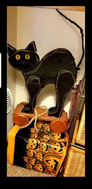 Black cat Halloween Wood Pull Toy VTG for Sale in Riverside, CA