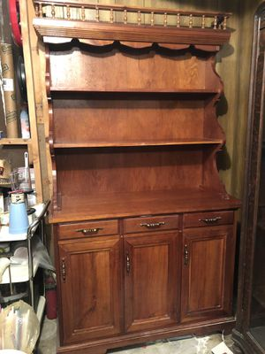 Vintage hardwood country kitchen cupboard cabinet China hutch for Sale in Medina, OH