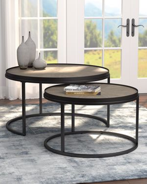 2-Piece Round Nesting Tables with Weathered Elm Top for Sale in El Monte, CA