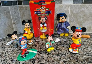 Walt Disney Lot Of 7 Vintage Mickey Mouse Collectible Figures w/Canvas Bag for Sale in Raleigh, NC