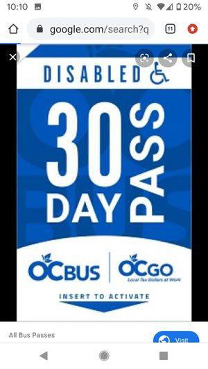 Two 30 Day Bus Pass for Orange County for Sale in Santa Ana, CA