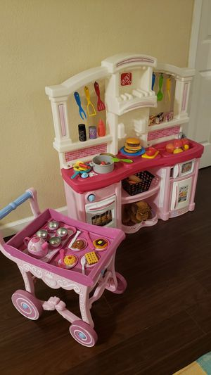 Step 2 pink kids kitchen toys with food fake toy and tea cart set for Sale in San Bernardino, CA