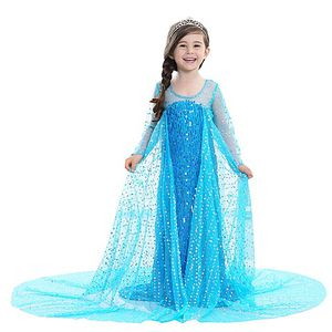 Frozen Princess Elsa Halloween Dress Flower Girl Dress Girls' Movie Cosplay A-Line Slip Pattern Dress Blue Dress Children's Day Masquerade Sequin Cot for Sale in Turlock, CA