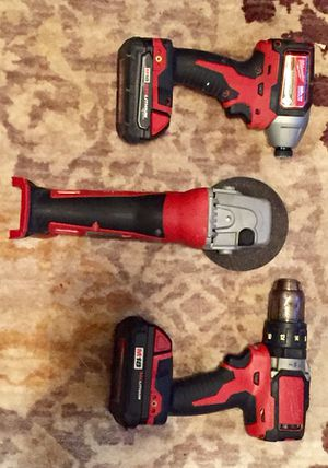 Milwaukee 3pc M18 Drill Set w/grinder and charger for Sale in Atlanta, GA