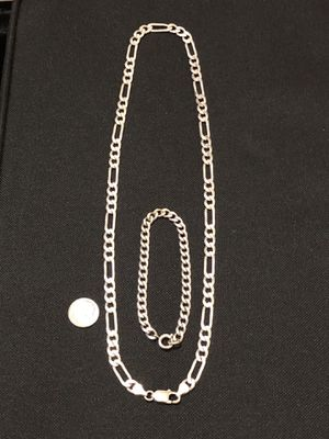 "Like new Solid silver 22"" long necklace and solid silver bracelet for Sale in Vacaville, CA"