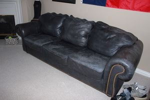 2 navy leather couches for Sale in Houston, TX