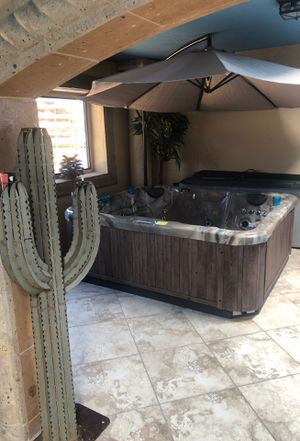 Hot tub w/ handcrafted steel cactus garden torch for Sale in Scottsdale, AZ