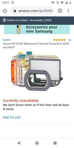 Canon WP-DC90 Waterproof Case for PowerShot A620 and A610  for Sale in Falls Church, VA