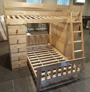 Bunk bed loft style all in one. Desk, dresser drawers, shelves. Solid wood, sturdy and good condition. for Sale in Puyallup, WA