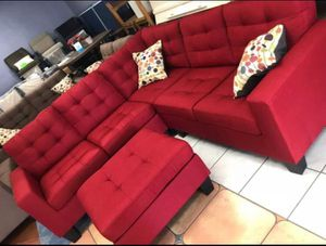 Brand New Red Linen Sectional Sofa Couch + Ottoman for Sale in Fairfax, VA