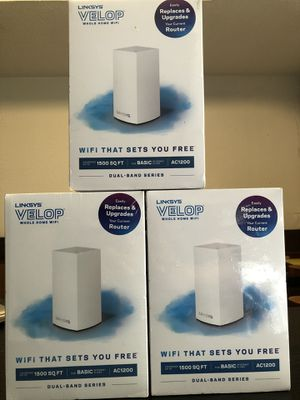 Linksys Velop Dual Band AC1200 Mesh WiFi System | 3 Pack | Expandable! | Coverage up to 1.500 Sq Ft for Sale in Canton, MI