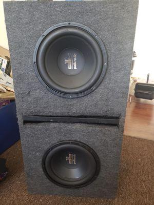 Subwoofer Box - Dual db Polk Audio 10 inch subs w/ Crunch Amp for Sale in Sacramento, CA