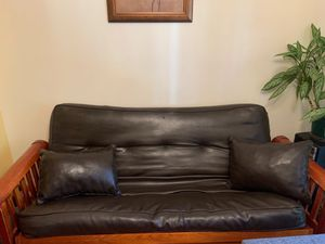 Black Leather Futon for Sale in Brooklyn, NY