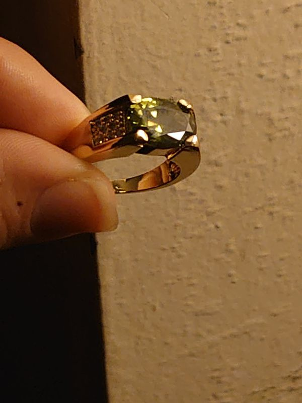 Gold Plated Sterling Silver (925) Peridot Ring Size'10