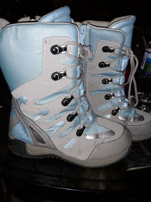Size 4 blue and grey snow boots for Sale in Chester, PA
