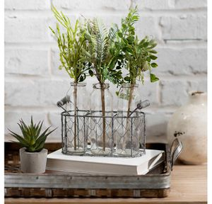 Plants Set of 3 with Bottles and Metal Vase for Sale in Homestead, FL
