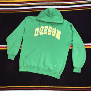 💛 VTG 90s Russell Athletic Wear PNW Oregon Ducks Spellout Hoodie Green Yellow Sz L 🦆 for Sale in University Place, WA