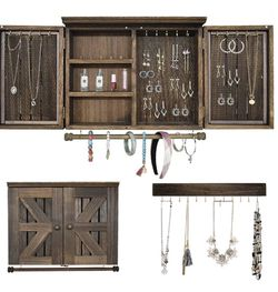 VICKERT Rustic Wall Mount Jewelry Organizers with Wooden Barndoor Decor.Wall Jewelry Organizer for Necklaces, Earings, Bracelets, Ring Holder, and Acc for Sale in La Habra,  CA