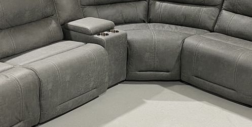 Leather Power Reclining L Sectional Grey for Sale in Costa Mesa,  CA