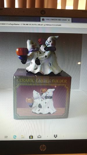 New in box HALLOWEEN CERAMIC 2 TAPER CANDLE HOLDER 1 INSIDE for Sale in Miami, FL
