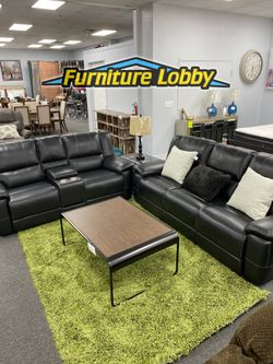 NEW Black Bonded Leather Sofa and Love Seat Recliner With USB and Cup Holders 2T for Sale in Irving,  TX