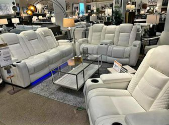 EXCLUSIVE] Party Time White LED Power Reclining Living Room Set with Adjustable Headrest by Ashley Sofa & Loveseat for Sale in Philadelphia,  PA