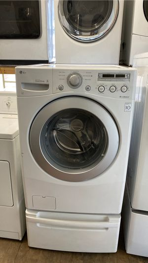 LG HE FRONT LOAD WASHER HEAVY DUTY WITH PEDESTAL for Sale in Costa Mesa, CA