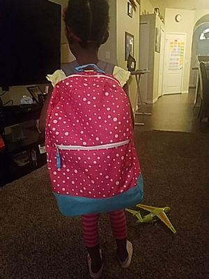 A pink and blue ,white polka dotted backpack for Sale in Valrico, FL