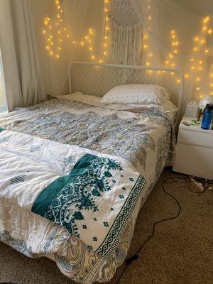 White ikea metal bed frame for Sale in Atlanta, GA