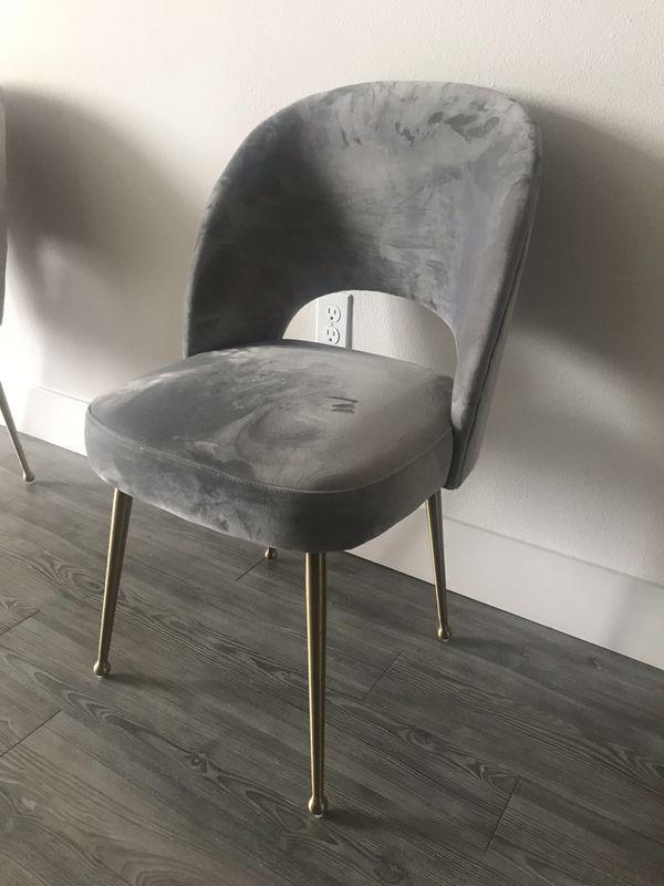 Gray velvet desk chair