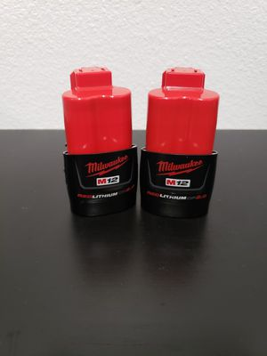 MILWAUKEE BATTERIES M12 CP2.0 ( 2 FOR 50 ( 2 POR 50 for Sale in Riverside, CA