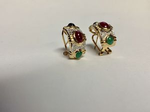 Ladies Cabochon Cut Colored Stone and Diamond Earrings 14k YG for Sale in Marietta, GA
