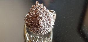 Stunning Vintage Estate 10K yellow gold genuine diamond teardrop cluster ring size 8 for Sale in Lake Stevens, WA