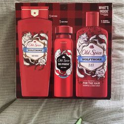 Old Spice Wolfthorn Holiday Gift Pack: Body Spray 3.75 oz + Body Wash 16 fl oz + 2-in-1 Shampoo & Conditioner for Men 12 fl oz for Sale in Rancho Cucamonga,  CA