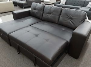 Brand New Espresso Bonded Leather Sectional Sleeper Sofa for Sale in Silver Spring, MD