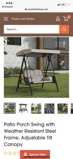 Patio Porch Swing with Weather Resistant Steel Frame, Adjustable Tilt Canopy for Sale in Phoenix, AZ
