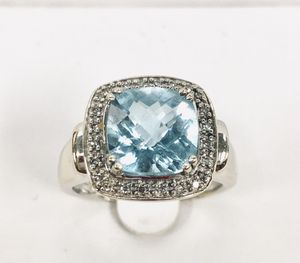 14K Solid White Gold Ring With Real Diamonds and Blue Sapphire. Weight 9.2g - Size 9.25 for Sale in Miami, FL