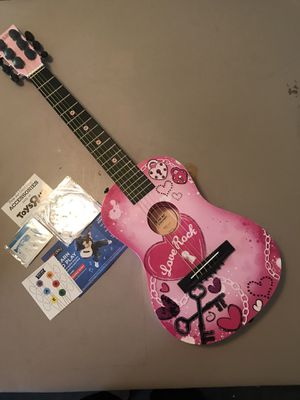 First Act Discovery Acoustic 6 String Guitar Pink Love Rick With Hearts for Sale in Kennewick, WA