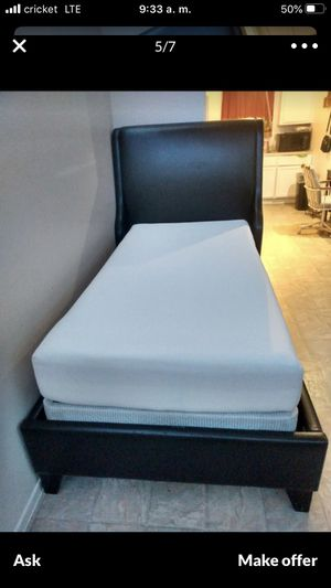 Twin bed frame leather and box spring included memory foam mattress for Sale in Mesa, AZ