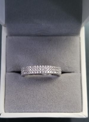 3 Row Full Pave S925 Sterling Silver Lab Diamond Wedding Band Size 6,7,8,9 for Sale in Aspen Hill, MD