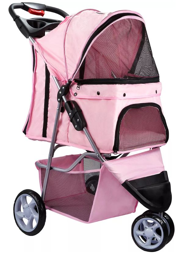 Cyber Sale: Pet Stroller Cat Dog 3 Wheel Walk Jogger Travel Folding Carrier PINK