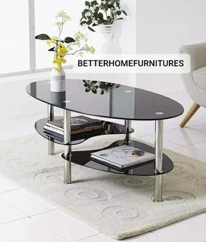 Black Glass Oval Coffee Table 3 Tier Tempered Top Metal Frame Modern Living Room for Sale in Fort Lauderdale, FL