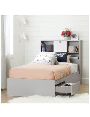 Twin Bed with 3 Drawers and bookcase headboard Soft Gray for Sale in Bellevue, WA