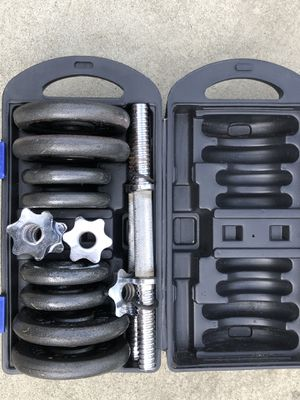 40lbs of standard weights and adjustable dumbbells for Sale in Tampa, FL