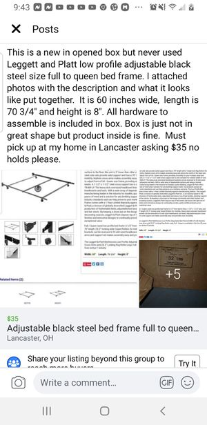 New in box adjustable steel black bed frame full to queen size for Sale in Lancaster, OH