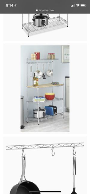 Whitmor Supreme Baker's Rack with Food Safe Removable Wood Cutting Board - Chrome for Sale in Lemont, IL